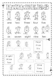 English worksheet: Numbers (1-10) MATCHING - FULLY EDITABLE 1/2