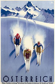 Large Vintage Art DecoTravel or Skiing Poster to Austria. Vintage Ski Posters, Retro Poster, Party Vintage, Vintage Art, Kunst Poster, Art Deco Design, Illustrations Posters, Skiing, Poster Prints