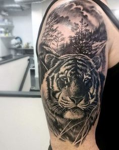 100 Tiger Tattoo Designs For Men – King Of Beasts And Jungle – Tattoo Ideas - Tattoo Designs Men Half Sleeve Tattoos Tiger, Mens Tiger Tattoo, Tiger Face Tattoo, Tiger Tattoo Design, Tattoos Arm Mann, Arm Tattoos For Guys, Son Tattoos, Music Tattoos, Tigergesicht Tattoo