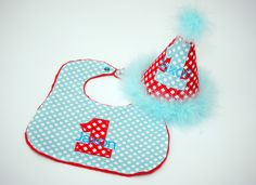 Personalized Aqua Red Birthday Party Hat and Minky Bib - First Birthday, Smash Cake - Aqua and Red Dots and Gingham - Seuss, Cat in the Hat, Little Red Wagon
