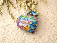 Rainbow Heart Necklace  Fused Glass Jewelry Dichroic by ccvalenzo