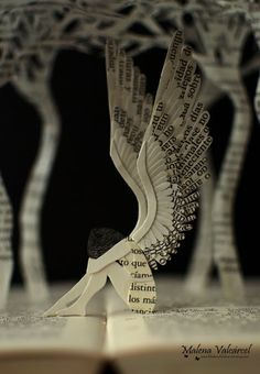 """Charming Paper Sculptures from Upcycled Books - - Some """"tree huggers"""" may view paper art (here and here and here) as a gratuitous use of precious paper. But Spanish paper artist Malena Valcárcel may just have found a way to please art lovers and e…. Folded Book Art, Book Folding, Fallen Angel Book, Book Sculpture, Paper Sculptures, Altered Book Art, Recycled Books, Paper Artist, Book Projects"""