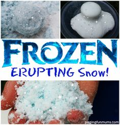 'Frozen' Erupting Snow - Indoor winter fun can be excellent on a cold, wet day. Give this experiment a try to bring the outs - Frozen Activities, Sensory Activities, Sensory Play, Activities For Kids, Camping Activities, Camping Ideas, Science Projects For Preschoolers, Disney Activities, Babysitting Activities