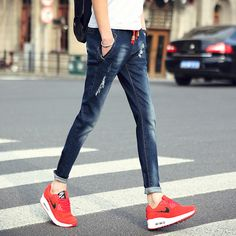 >> Click to Buy << Men's jeans 2016 new fashion straight stretch skinny jeans Feet pants Male casual trousers male pants Tights #Affiliate