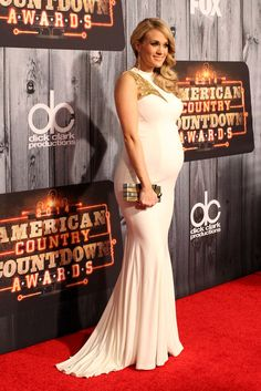 Pregnant Carrie Underwood in White at American Country Show | POPSUGAR Celebrity