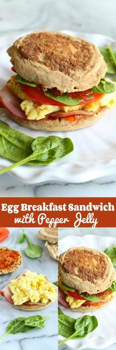 Egg Breakfast Sandwich with Pepper Jelly & Spinach…The breakfast sandwich to beat all others! 255 calories and 8 Weight Watchers SmartPoints | cookincanuck.com