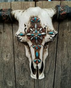 """Rustic Western resin cow skull w turquoise  jewels aztec  21"""" × 13"""" home decor 