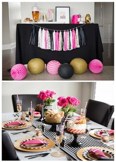 Black Pink and Gold Kate Spade inspired party. Find all the details and shop… Kate Spade Party, Kate Spade Bridal, Pink Gold Party, Pink And Gold, Black Party, 40 Y Fabuloso, Canadian Party, Fete Marie, 30th Birthday Parties
