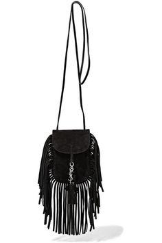 Yves Saint Laurent Anita Mini Flat Suede Shoulder Bag with Fringe ...