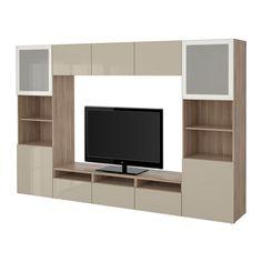 """BESTÅ TV storage combination/glass doors - walnut effect light gray/Selsviken high gloss/beige frosted glass, drawer runner, soft-closing, 118 1/8x15 3/4x75 5/8 """" - IKEA"""