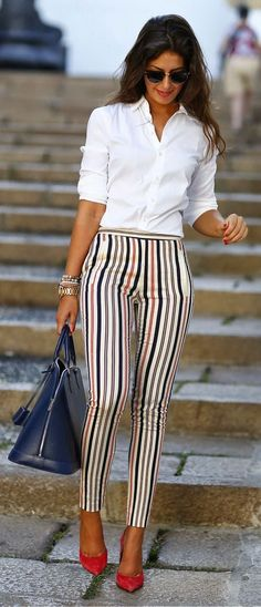 Business professional outfit striped pants white shirt