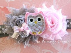 Owl Baby Headband Owl Pink and Gray Headband by ThePrimroseCorner, $9.99
