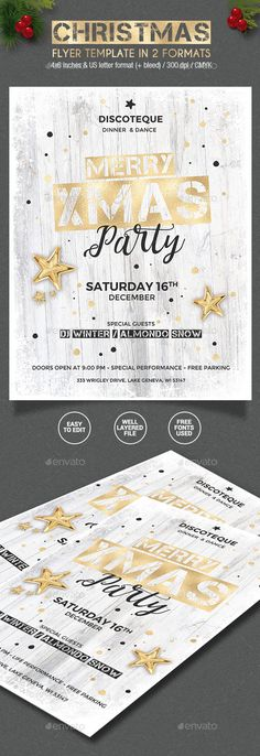 Gold / White #Christmas Party Flyer - 2 formats - Holidays #Events