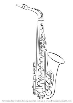How to draw Saxophone | Step by step Drawing tutorials ...