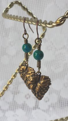Antique Brass Wire Wrapped Grape Leaf Earrings by GirlyPossessions on Etsy