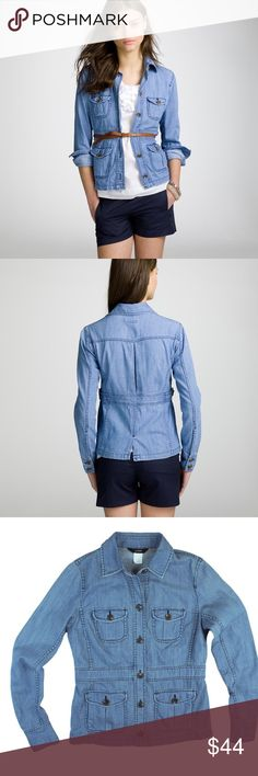 """JCREW Blue Cotton Denim Safari Shirt Jacket Excellent condition. This blue cotton denim safari shirt jacket from JCREW features button closures, front pockets and is unlined. Material is that if a shirt, but it's styled like a jacket. Made of 100% cotton. Measures: Bust: 37"""", total length: 24"""", sleeves: 25"""" J. Crew Tops"""