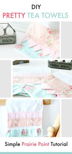 These tea towels are not your everyday pretty tea towel. They are extra large, unqiue and can be sewn to match other decor. Simple to do with full tutorial including easy prairie points. #faeriesandfauna #shabbychic #sewing #sewkindofwonderful #kitchendecor width=