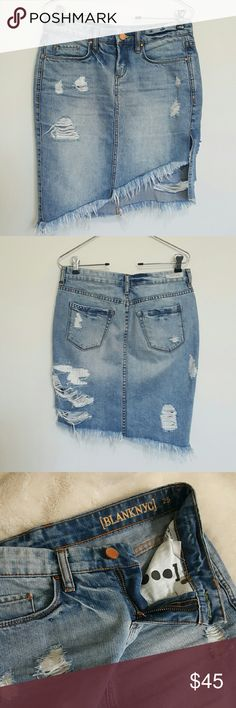 Blank NYC Asymmetrical Distressed Jean Skirt Bought this and Akira and LOVE LOVE LOVE it! ...but don't wear short skirts or dresses anymore due to recent scars. No flaws. Super cute. Firm on price. Size 25 Skirts Asymmetrical