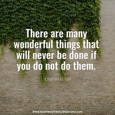 There are many wonderful things that will never be done if you do not do them.