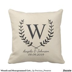Wreath and Monogrammed Cotton Fabric Textured Outdoor Pillow
