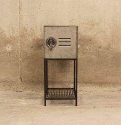 Side Table Vintage Aluminum Cube Locker with ReBar Legs and Mesh Shelf