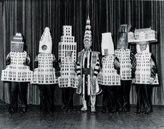 Left to Right. Stewart Walker(Fuller Building), Leonard Schultze(Waldorf-Astoria), Ely Jacques Kahn(Squibb Building), William Van Alen(Chrysler Building), Ralph Walker(Wall Street Building) and Joseph Freedlander(Museum of the City of New York). Rem Koolhaas, New York City Buildings, Famous Buildings, Chrysler Building, Cover Design, Urban Design, Book Design, Layout Design, Design Design