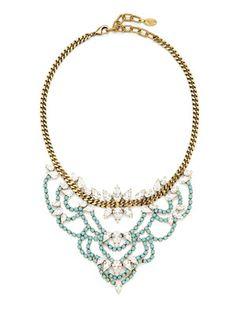 Elizabeth Cole Crystal Bib Necklace