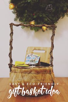 Make your holidays more eco-friendly with this green gift basket idea and easy recycled paper tree DIY! Show your love for your recipient and the planet! #PowerYourHoliday [ad]