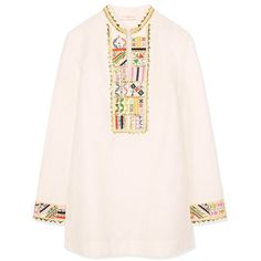 Women's Tunics, Cover-Ups & Beach Dresses | Tory Burch ❤ liked on Polyvore featuring tops, tunics, tory burch tunic, pink top, pink tunic, tory burch tops and tory burch
