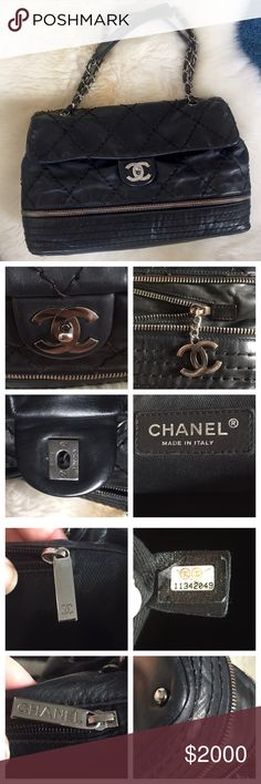 AUTHENTIC Chanel jumbo flap expandable ligne 2.55 AMAZING/RARE Chanel expandable ligne bag in great condition from 2007/2008. Larger than jumbo flap and expandable. Only flaws: wear on hardware, light fading on interior fabric (unnoticeable), one small scratch on leather (flap covers this so can't be seen when worn), small rubs on corners (no rips or exposed piping, etc). The stitching is thick, so there are areas where it isn't perfect, but no real pulls. Original dust bag included. No…