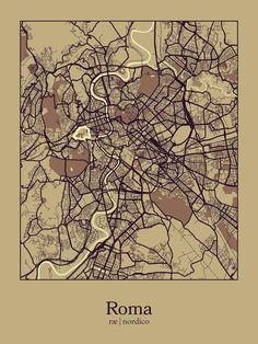 Rome map print