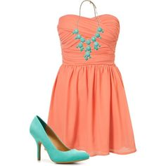 like this coral colored sun dress with the mint accents