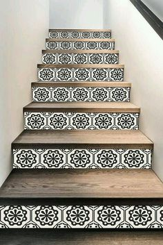Stair Riser Stickers - Removable Stair Riser Tile Decals - Testino Pack of 6 in . - Stair Riser Stickers – Removable Stair Riser Tile Decals – Testino Pack of 6 in Black – Peel & Stick Stair Riser Deco Strips – long Source by - Tile Stairs, Basement Stairs, House Stairs, Tiled Staircase, Staircases, Home Renovation, Home Remodeling, Deco Tape, Tile Decals