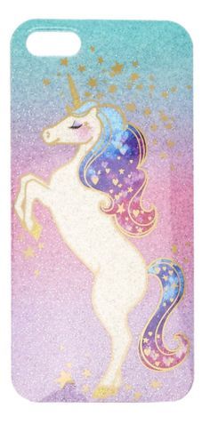 Shimmer and shine with this phone case in your pocket or your hand. Pastel ombre effect with glitter is the background of this case with an adorable unicorns with hearts and stars in her hair.