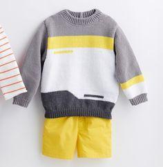 Crochet Baby Dress Pattern, Baby Cardigan Knitting Pattern, Knitting Patterns Boys, Knitting For Kids, Baby Boy Sweater, Men Sweater, Slip Stitch Knitting, Winter Baby Clothes, Boys Sweaters