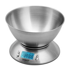 Digital Kitchen Food Scale Bowl Stainless Steel w Alarm Timer&Temperature Sensor #Vont