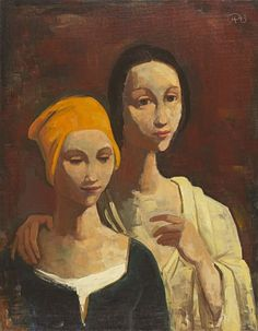 """Karl Hofer """"Portrait of Two Young Women"""", 1943 (Germany, Expressionism, 20th cent.)"""