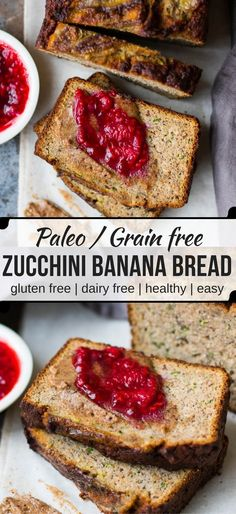 Grain free Zucchini Banana Bread is a low sugar loaf naturally sweetened with bananas and maple syrup. Dairy free, gluten free and paleo, enjoy a slice for breakfast or a healthy snack!