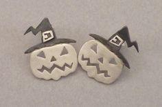 Large Pumpkin Stud Earrings Halloween Jewelry by thinkupjewelry