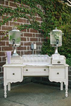 cute vintage vanity welcome beverage station