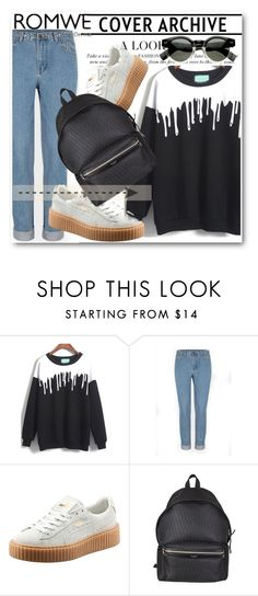 """Romwe !!"" by dianagrigoryan ❤ liked on Polyvore featuring moda, Puma y Yves Saint Laurent"