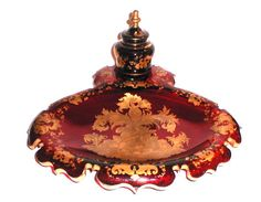 An Unusual Bohemian 19th Century Ruby Red and Gold Inkstand.