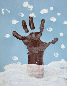 Winter Hand Print Tree with Snowy Fingerprints