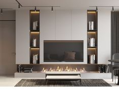 Interior Design,Visual Effects,Architecture Home Fireplace, Living Room With Fireplace, Fireplace Design, Home Living Room, Interior Design Living Room, Living Room Tv Unit Designs, Tv Wall Design, Home Room Design, Behance