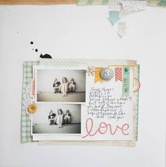 marcy penner ... silhouette cut out word with patterned paper behind and stitched over top