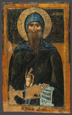 Saint Anthony, Macedonian icon from Byzantine Icons, Byzantine Art, Benaki Museum, Orthodox Catholic, Saints, Google Art Project, Religious Icons, Orthodox Icons, Sacred Art