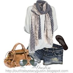 shorts and scarf, created by stacy-gustin on Polyvore