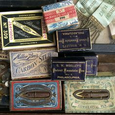 Vintage pin nibs boxes from collection of Wendy Addison