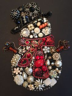 Snowman #ChristmasArt #Snowman #vintagejewelry