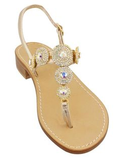 d44b2a9c94d9b Pearla Iridescent and Crystal Capri Jeweled Sandal. Jeweled Sandals ...